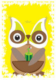 Owl 1st Card_eps. Illustration of cartoon owl holding 1st candle with yellow background. --- This .eps file info Document: A4 Paper Size Document Color Mode royalty free illustration