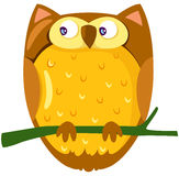 Owl. Illustration of isolated owl sitting on a branch royalty free illustration