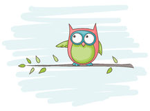 Owl. Cartoon of an owl sitting on a branch Stock Image
