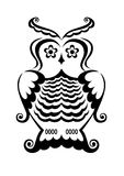 Owl. Pure black lines of wise owl Royalty Free Stock Image