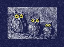 Owl. An illustration of three violet owls with big yellow eyes Royalty Free Stock Photos