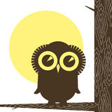 Owl. Stylized eagle owl on gnarl tree, as symbol of the knowledges and wisdoms Stock Image