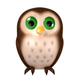 Owl. 3d cartoon character owl on white Stock Images