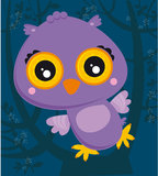 Owl. Illustration of cartoon owl sitting on tree branch Royalty Free Stock Photography
