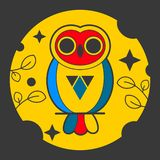 Owl Abstract Vector Sign, emblème ou Logo Template Ligne emblème de la géométrie de style illustration de vecteur