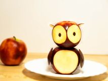 Owl from apple decoration stock image