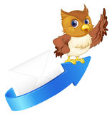 Owl, arrow and envelop Royalty Free Stock Photos