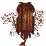 Owl and Autumn Forest Landscape. Deciduous autumn forest landscape with silhouettes of trees and owl stock illustration