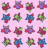 Owl background. Illustration of cute colour ful owls on pink background colour Stock Images
