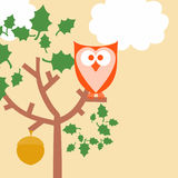 Owl Background. Cartoon like illustration of owl in tree with acorn and puffy white clouds Stock Photo
