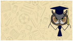 Owl on background contour school facilities Stock Photo