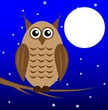 An owl on a background star sky sits on the branch. Of tree, illustration stock illustration
