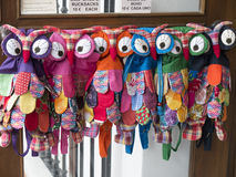 Owl Backpacks for sale in Mijas on the Costa Del Sol Andalucia, Spain Stock Photo