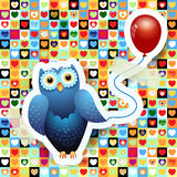 Owl and balloon Stock Image