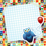 Owl and balloon, custom background Stock Photos
