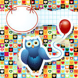 Owl and balloon, custom background Royalty Free Stock Photo