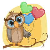Owl with baloons Stock Photo
