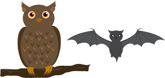 Owl and bat Stock Images