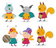 Owl, bat, fox, snail, mosquito. Cartoon characters. Colorful graphic illustration Royalty Free Stock Photo