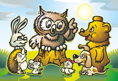 Owl. Beasts of the forest hedgehog mouse hare bear and chick on a meadow near the hemp listen owl Stock Image