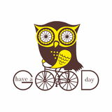 Owl on a bicycle Stock Photos