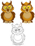 Owl. With big yellow eyes, color and black-and-white outline vector illustrations Royalty Free Stock Photos