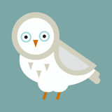 Owl bird cartoon vector. Owl white wild cartoon isolated. Flat bird character. Great horned wildlife animal nature bird vector illustration. Wing wise decoration Royalty Free Stock Image