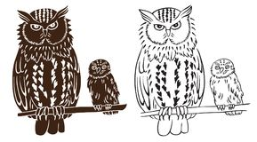 Owl bird with chick. Illustration on white background bird owl and chick pattern and silhouette Stock Image