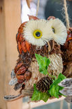 Owl Bird handmade of wood and cone Stock Photo