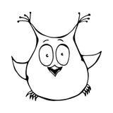 Owl Bird imbarazzato divertente sorpreso felice divertente sveglio Isolato su un vettore disegnato a mano Illust di schizzo del f Fotografia Stock