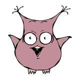 Owl Bird insano pazzo pazzo spaventato divertente sveglio Isolato su un'illustrazione disegnata a mano di vettore di schizzo del  Immagine Stock