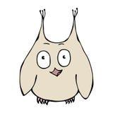 Owl Bird perplexe amusé étonné drôle mignon D'isolement sur un vecteur tiré par la main de croquis de fond de bande dessinée blan Photos stock