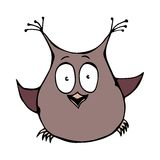 Owl Bird perplexe amusé étonné drôle mignon D'isolement sur un vecteur tiré par la main de croquis de fond de bande dessinée blan Image libre de droits