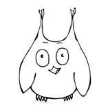 Owl Bird perplexe amusé étonné drôle mignon D'isolement sur un vecteur tiré par la main de croquis de fond de bande dessinée blan Photo libre de droits