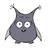 Owl Bird perplexe amusé étonné effrayé effrayé drôle mignon D'isolement sur une main blanche de bande dessinée de griffonnage de  Photographie stock libre de droits