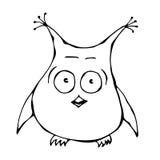 Owl Bird perplexe amusé étonné effrayé effrayé drôle mignon D'isolement sur une main blanche de bande dessinée de griffonnage de  Photo libre de droits