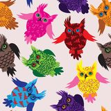Owl bird seamless vector background Royalty Free Stock Images