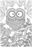 Owl bird sitting on a branch. Unique coloring book page for adults - joy to older children and adult colorists, who like line art and creation, vector Stock Images