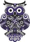 Owl, bird, sova. Owl the bird, an eagle owl an animal, black color, blue patterns, sova blue, filin a bird, sych sit on a tree, stylized a bird, an owl with Royalty Free Stock Images