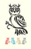 Owl bird tribal Stock Photos