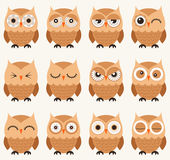 Owl birds pattern. Cute cartoon owl birds with different facial expression Royalty Free Stock Photos
