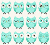Owl birds pattern. Cute cartoon owl birds with different facial expression Stock Photography