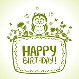 Owl birthday. Illustration of funny characters silhouette owl Happy Birthday vector illustration