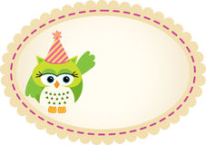 Owl Birthday Label sveglio Fotografie Stock