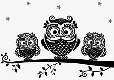 Owl black. Black and white illustration vintage owl fairy tale Stock Photos