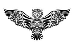 Owl from the black line ornament vector illustration