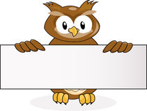 Owl with blank sign Stock Image