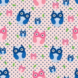 Owl blue pink leaf seamless pattern Royalty Free Stock Photo