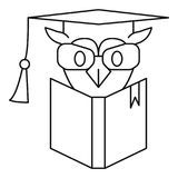 Owl book icon, outline style. Owl book icon. Outline owl book vector icon for web design isolated on white background Stock Image