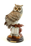 Owl on a book. Stone statue Stock Photography